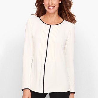 Talbots Tipped Pintuck Top