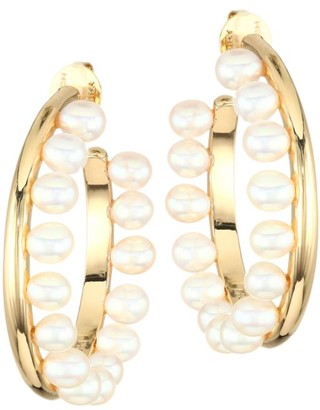 Tory Burch 5MM Cultured Pearl-Fringe Goldtone Hoop Earrings