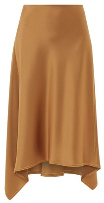 Sies Marjan Darby Handkerchief-hem Satin Midi Skirt - Brown