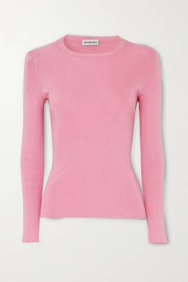 Balenciaga Intarsia Ribbed-knit Sweater - Pink
