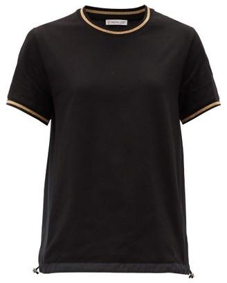 Moncler Logo-patch Metallic-trimmed Cotton-jersey T-shirt - Black