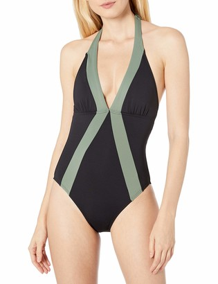 Vince Camuto Women's Halter One Piece with Colorblock
