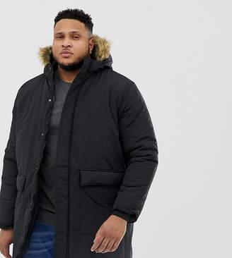 French Connection PLUS Faux Fur Hood Parka Jacket-Black