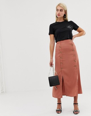 Vero Moda double split button front midaxi skirt-Brown