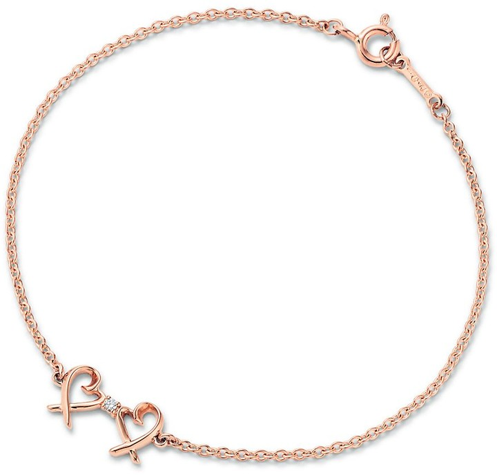 Tiffany & Co. Paloma Picasso Double Loving Heart bracelet in 18ct rose gold with diamonds