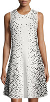 Eliza J Sleeveless Dot-Print Fit & Flare Dress, White/Black