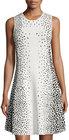 Eliza J-eliza j sleeveless dotprint fit flare dress whiteblack