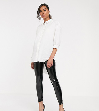 ASOS DESIGN Maternity over the bump vinyl legging