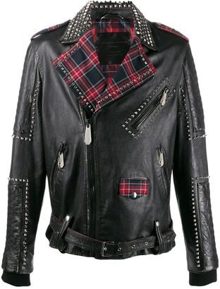 Philipp Plein tartan lined biker jacket