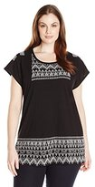 Lucky Brand Women's Plus-Size Embroidered Panel T-Shirt
