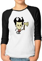 Hera-Boom Women's Video Game Don't Starve Wilson 3/4 Sleeve Baseball Shirt M (2 Colors)