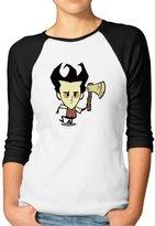 Hera-Boom Women's Video Game Don't Starve Wilson 3/4 Sleeve Baseball Tee Shirts XL (2 Colors)