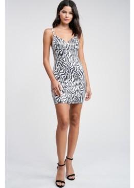 Emory Park Zebra Print Pr Sequin Sleeveless Mini Dress