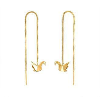 Origami Jewellery Swan Gold Chain Earrings