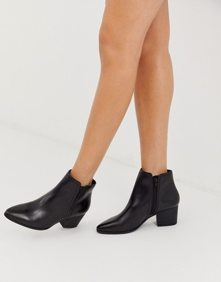 Aldo Larissi kitten heel almond toe leather ankle boot-Black