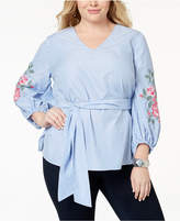 INC International Concepts I.n.c. Plus Size Embroidered Top, Created for Macy's