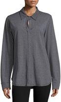 Allen Allen Mock-Button Long-Sleeve Shirt