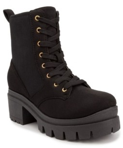Sugar Women's Control Lug Sole Lace-Up Combat Booties Women's Shoes