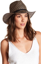 Vince Camuto Braided Leather Detail Panama Hat