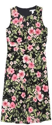 London Times Floral Pleated Neckline Dress (Petite)