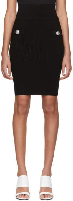 Balmain Black Knit Striped Skirt