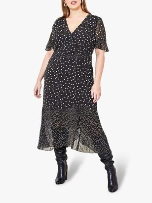 Oasis Curve Spot Print Midi Dress, Black/White