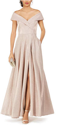 Xscape Evenings Off-The-Shoulder Shimmer Wrap Gown