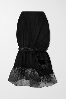 Simone Rocha Ruffled Printed Organza-trimmed Tulle Skirt - Black