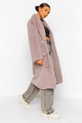 boohoo Petite Faux Fur Button Front Coat