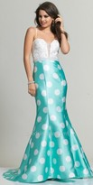 Dave and Johnny Belted Polka Dot Prom Dress