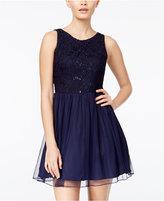 Speechless Juniors' Sequin Lace Cutout-Back Dress