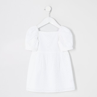 River Island Mini girls White broderie puff sleeve dress