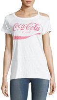 Chaser Classic Cold-Shoulder Coca Cola Tee, White