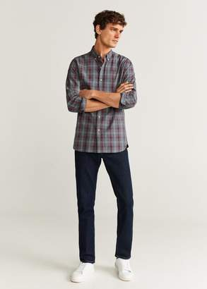 MANGO Slim fit checked cotton shirt