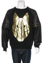 Skingraft Leather-Trimmed Egyptian Wolf Sweatshirt