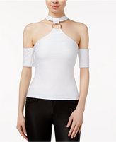 Lily Black Juniors' T-Back Cold-Shoulder Top, Created for Macy's