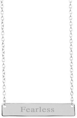 Sterling Forever Sterling Silver Inspirational Bar Pendant Necklace - Fearless
