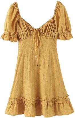 Goodnight Macaroon 'Gail' Puff Sleeve Eyelet Mini Dress