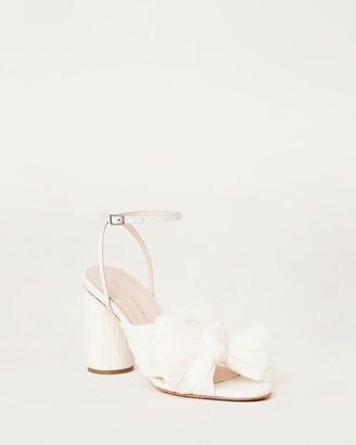 Loeffler Randall Camellia Bow Heel with Ankle Strap Vegan Pearl