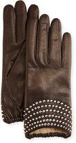 Portolano Nappa Leather Stud-Embellishment Gloves, Kenya Roast