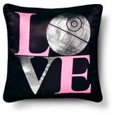 "Star Wars Classic Girl Death Star Love Throw Pillow (14""x14"") - Black"