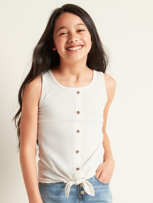 Old Navy Rib-Knit Tie-Front Tank Top for Girls