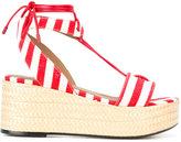 Sonia Rykiel striped wedge sandals - women - Cotton/Calf Leather/Zamak/Kid Leather - 37
