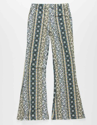 White Fawn Printed Girls Flare Pants
