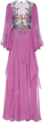 Costarellos Silk Embroidered Chiffon Dress