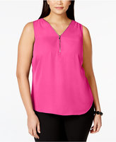 INC International Concepts Plus Size Zip-Neck Shell, Only at Macy's