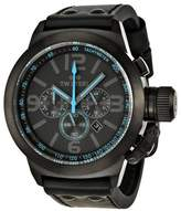 TW Steel Unisex Quartz Watch with Black Dial Chronograph Display and Black Leather Strap TW904