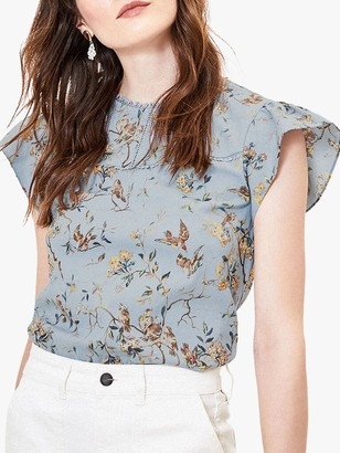 Oasis Floral Bird Print T-Shirt, Blue/Multi