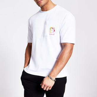 River Island White printed zip chest pocket T-shirt