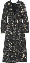 RIXO London - Camellia Pleated Printed Silk Crepe De Chine Midi Dress - Black